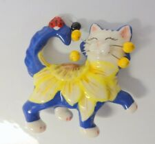 Vntg Hand Painted Ceramic Porcelain Sunflower Happy Cat Pin Brooch