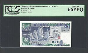 Singapore One Dollar ND(1987) P18a Uncirculated Graded 66