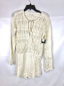 Volcom Women's Gypsom Ivory White Romper, Long Sleeve, Size L, Sheer Top