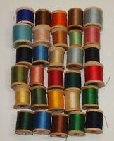 Vintage Lot D 30 SMALL WOOD THREAD SPOOLS Corticelli Coats & Clarks Star More