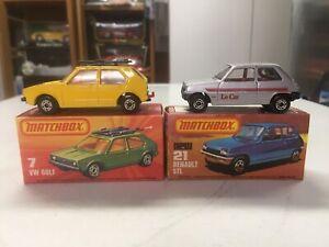 BOXED 2 car lot MATCHBOX cars #MB7 Volkswagen VW Golf & #MB21 Renault 5TL LeCar
