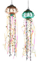Kurt Adler Coastal Beaded Jellyfish Glass Ribbons Holiday Ornaments Set of 2