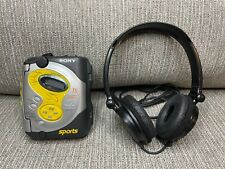 VTG Sony Sports Walkman WM-FS421 Cassette Player Works w/ Headphones and Band