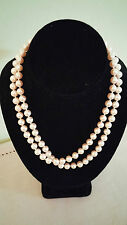 34 inch Opera Length White 8mm Faux Pearls Pearl Strand Necklace Vintage 1980s