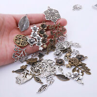 50pcs Vintage Metal Mix Flower Leaves Retro Pendant DIY Handmade Jewelry Making