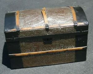 """Antique Smaller Size Repainted Tin & Wood Dome Top Trunk - 20"""" x 11.5"""" x 12.5"""""""