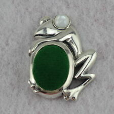 Novelty Sterling Silver Frog Pin Cushion Mother of Pearl Eyes
