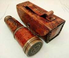 Vintage Brass Telescope with leather Antique Spyglass Halloween replica Gift