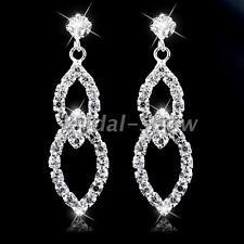Bridal New Silver Diamante Crystal Rhinestone Leaf Dangle Earrings Wedding Party