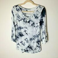 Amelia & Joe Women's Top Size Medium 3/4 Bell Sleeves Tie Dye White Black Casual