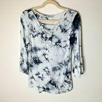 Amelia & Joe Women's Top Size Medium 3/4 Bell Sleeves Tie Dye White Black Casual