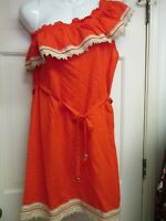 One Shoulder Orange Ruffle Dress by Mud Pie, Size Small, NWT