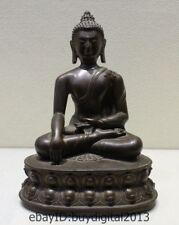 Old Tibetan Buddhism Pure Bronze Shakyamuni Amitabha Buddha Sakyamuni Statue