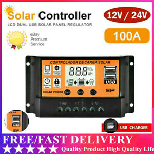 Solar Panel Battery Regulator Charge Controller 12/24V Auto Dual USB US