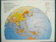 WW2 WWII MAP ~ JAPANESE EXPANSION DEC 1941 - JUL 1942 COLONIAL POSSESSIONS