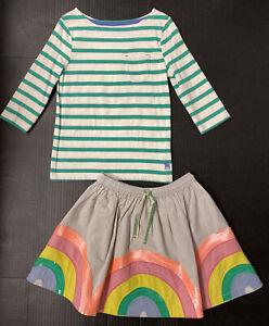 NWOT Girls 6-7-8 MINI BODEN Green Striped Breton Tee & Sequin Rainbow Skirt Set