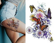 Temporary Tattoo Large Floral Butterfly Daisy Flowers Pretty Leg Waterproof