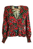 THE KOOPLES Giant Poppy Print Silk Blend Peplum Blouse (2 | UK 12 | EU 38)