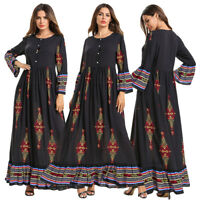Muslim Women Flower Print Abaya Maxi Dress Kaftan Dubai Jilbab Islamic Robe Gown