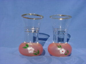 2 VINTAGE GLASS BUD VASES HAND PAINTED FLOWER PEACH WITH GOLD TRIM