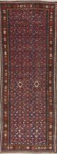 Vintage 10 ft Runner Navy Blue & Red Hamadan Floral Wool Rug 9' 9 x 3' 6