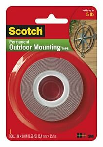 Heavy-Duty Exterior Mounting Tape Holds 5 lb. 1 in x 60 in Roll