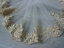 Gold Thread Embroidered Tulle Lace Trim by the Yard