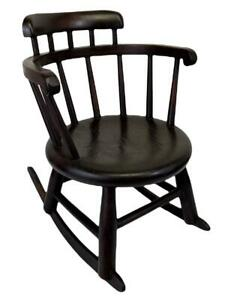 Antique 19thC Victorian Primitive Child's Doll Miniature Windsor Rocking Chair