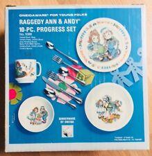 NEW Raggedy Ann & Andy Oneidaware 10 Piece Progress Child's Dinner Set 1969