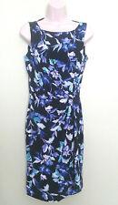 American Living Knot Front Sheat Dress Floral Black Blue Size 8 MSRP  $79