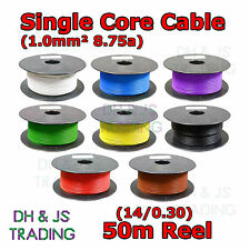 Single Core Cable 14/0.30 1.0mm2 50m Roll 8.75A Auto Wiring Car Van Marine 1mm