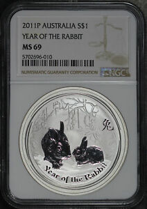 2011P Australia $1 Silver Year Of The Rabbit NGC MS-69