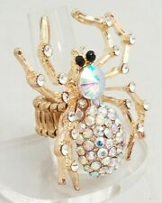 """Gold Spider Large Cocktail Ring Gold Crystal Stretch Band  2"""" Halloween Costume"""