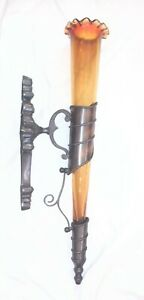 Large Bronze Wall Sconce Flower Vase Amber Glass Torch