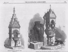 1867-Antique print LONDON Battersea Park Fontaine Boire Bovins Auge (023)