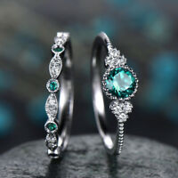 Women's Gift Set Rings 925 Silver Round Cut Emerald Lady Ring Size 5-10 2pcs/set