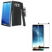 Galaxy Note 8 Belt Clip Case Holster Tempered Glass Screen Protector Anti-Glare