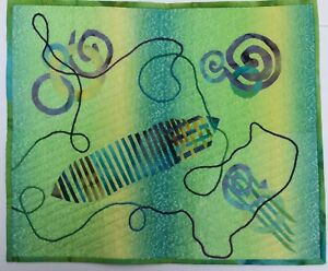 """Art Quilt Parallels and Free-forms Abstract Art Piece  12""""x17"""""""