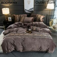 Velvet Flannel Cover Set Embroidery Lace 4Pcs Bedding Set Fitted/Flat Bed Sheets