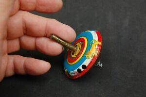 Vintage Tin Metal Toy Spring Spinning Top Japan Lithograph Pat 454866 Animals