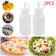 2PCS 100ML Clear Squeeze Bottle Condiment Dispenser Ketchup Mustard Sauce