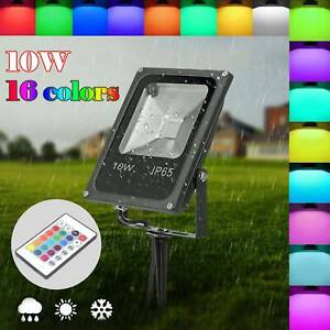 LED RGB 16 Color Changing Floodlight Spotlight Outdoor Garden Lamp Waterproof