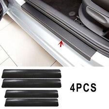 4Pcs 3D Carbon Fiber Black Car Door Sill Scuff Plate Cover Anti Scratch Sticker