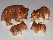 Vintage Bear Figurines Bone China Family Set 4 Brown Glazed Miniature Lot Cubs