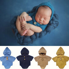 Baby Newborn Girl Boy Romper Crochet Hat Clothes Outfit Photography Photo Props