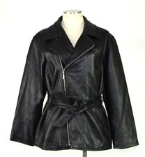 Valerie Stevens Black Lambskin Leather Belted Jacket Asymmetrical Zip Womens M