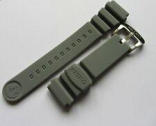 22mm Seiko Soft Silicon Grey Rubber Divers Strap Z-22 Z22 Brushed Buckle