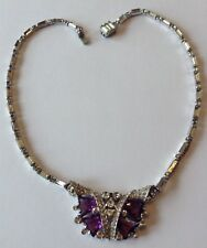 VINTAGE BOGOFF SIGNED PURPLE AND CLEAR RHINESTONE NECKLACE