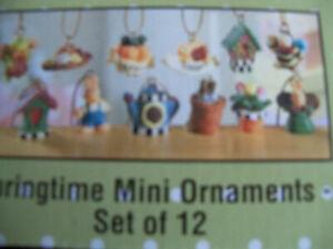 12 DollHouse Miniature Springtime Fairy Garden or Dollhouse ornaments NEW