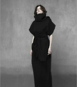 Linen turtleneck cocoon caftan with raw edges  / Avant-garde linen kimono dress